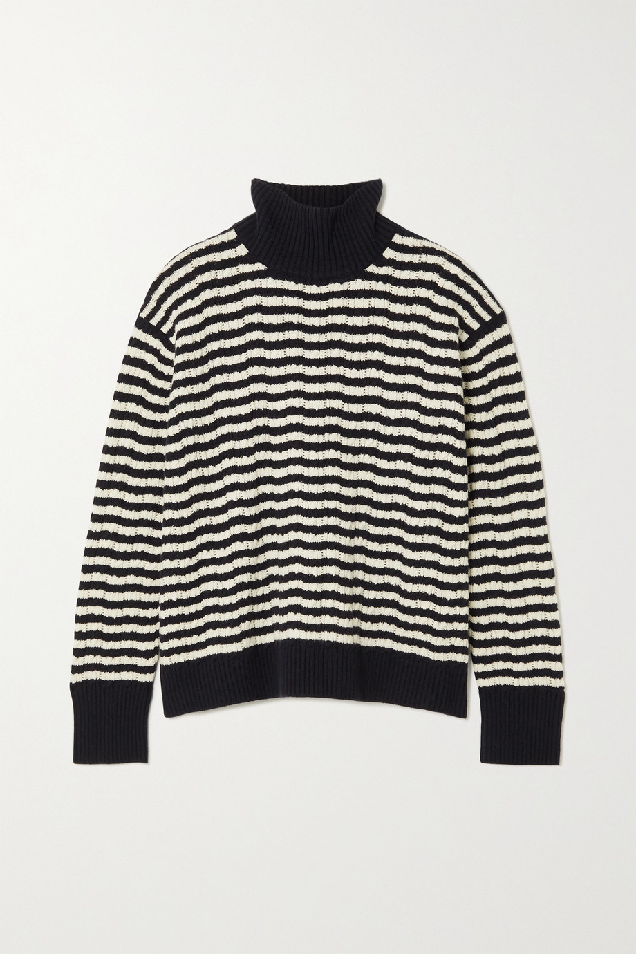 Loro Piana Striped pointelle-knit cashmere turtleneck sweater