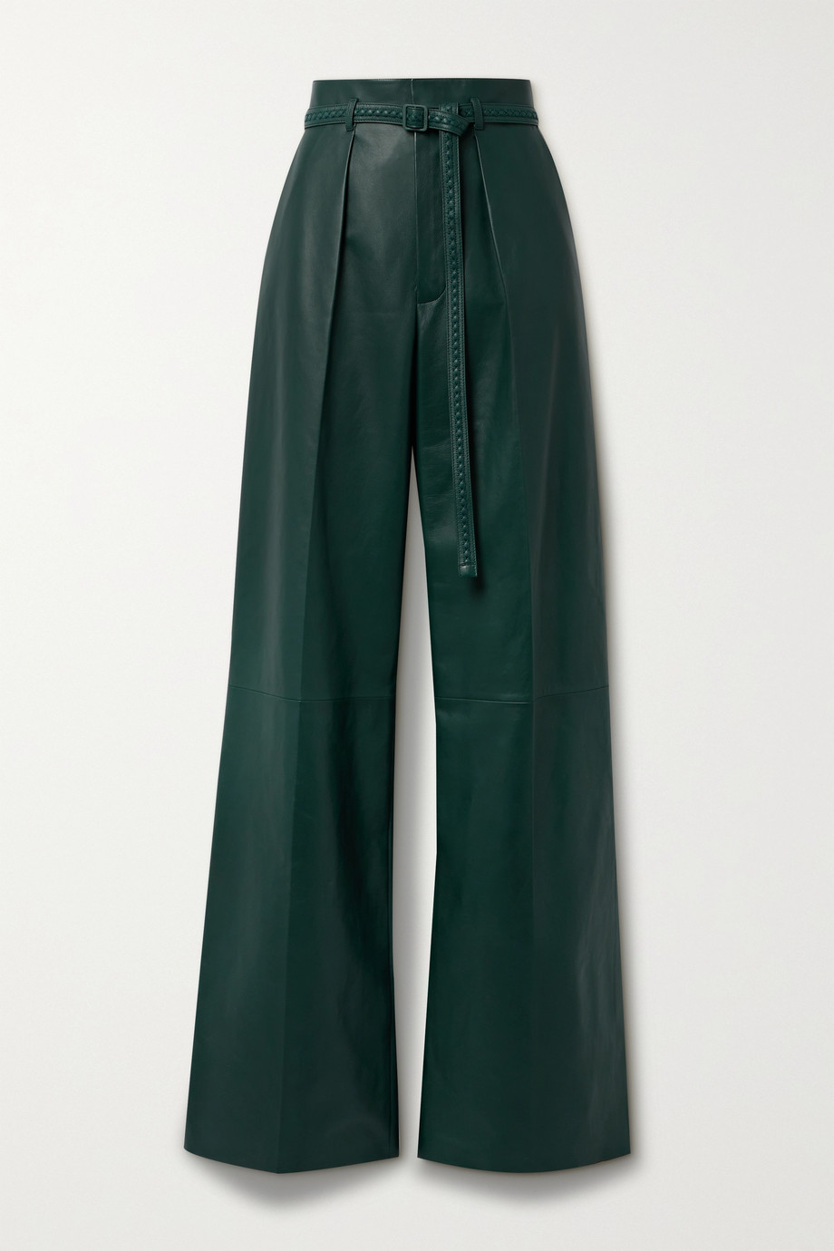 Loro Piana Kyle Alabama belted leather wide-leg pants