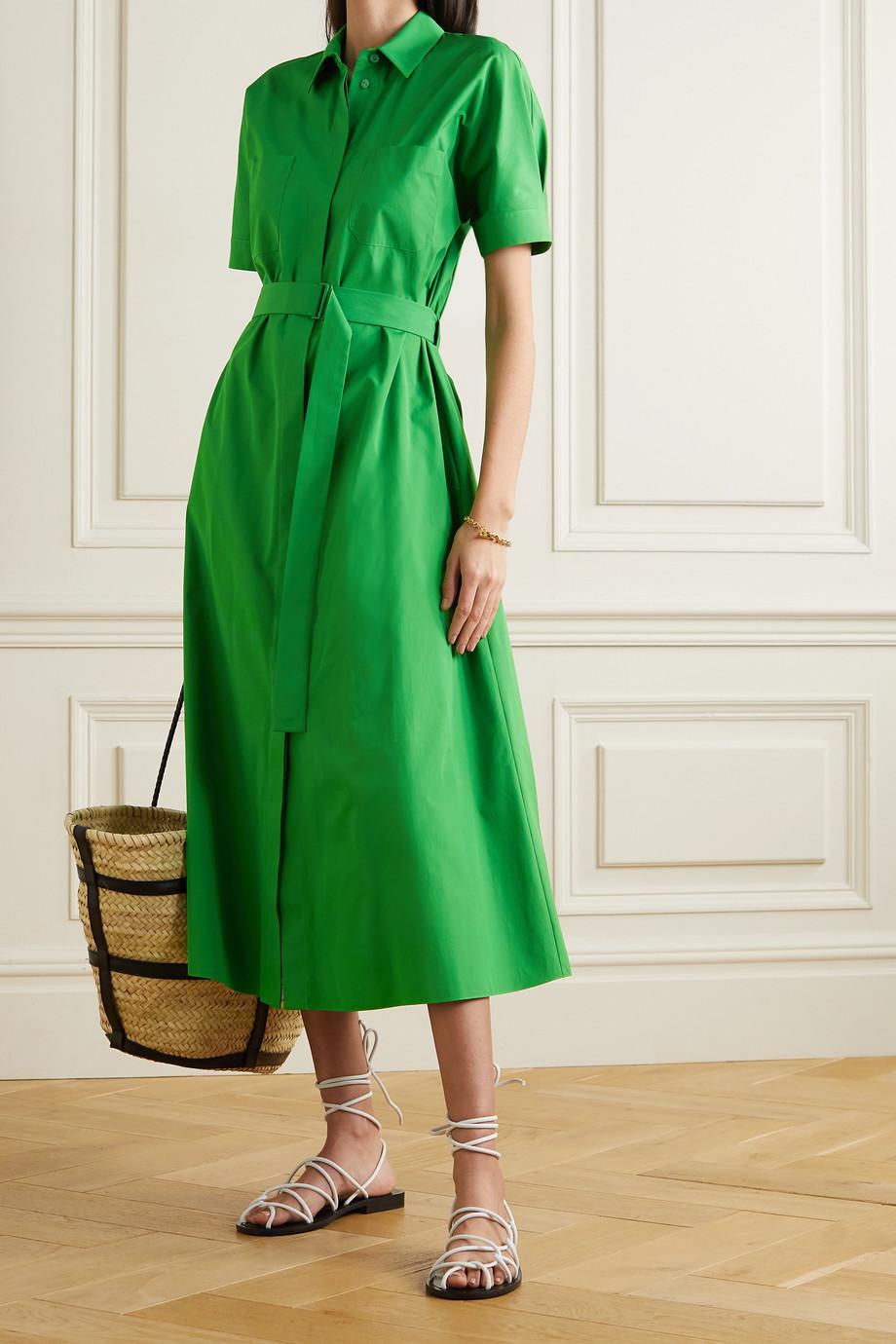 Loro Piana Miranda belted cotton-poplin midi shirt dress