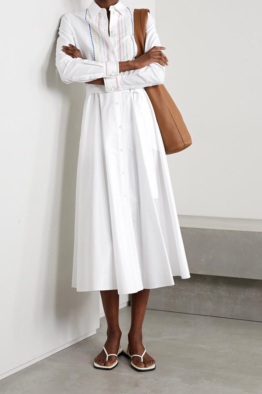 Loro Piana Lucienne embroidered cotton-poplin midi shirt dress