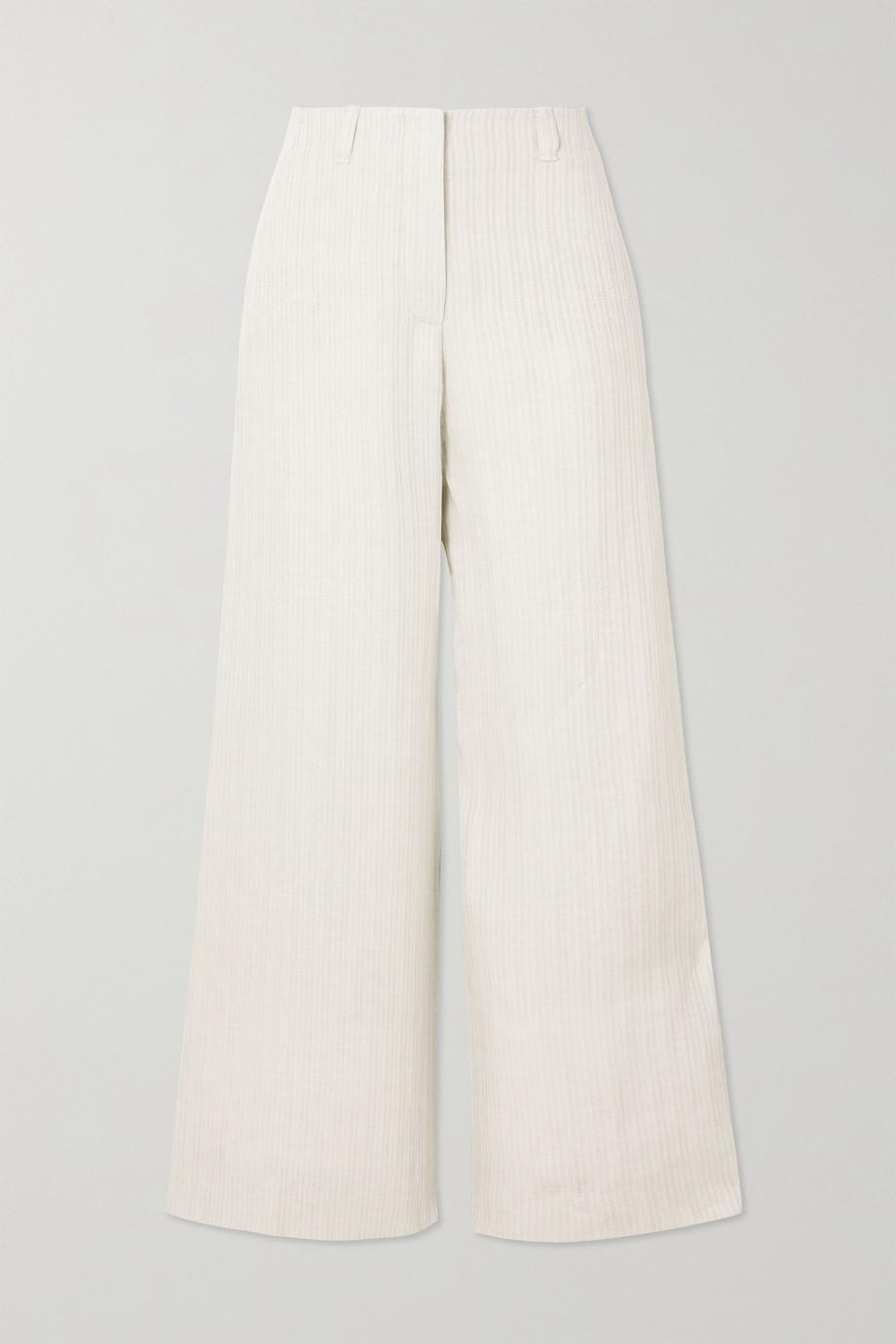 Loro Piana Harve herringbone linen wide-leg pants