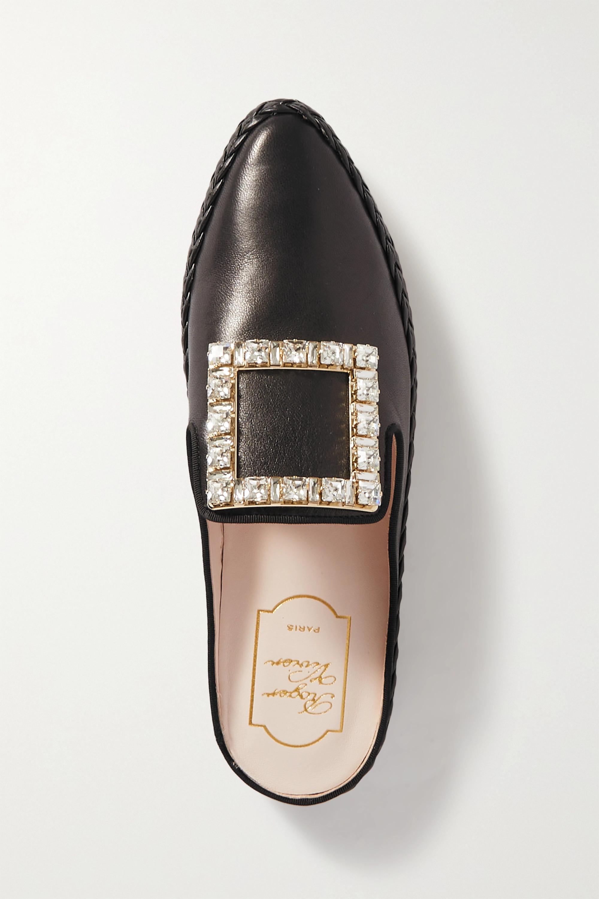 Roger Vivier Slippers aus Leder mit Kristallen