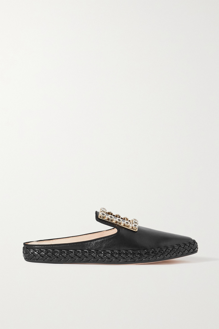 Roger Vivier Crystal-embellished leather slippers