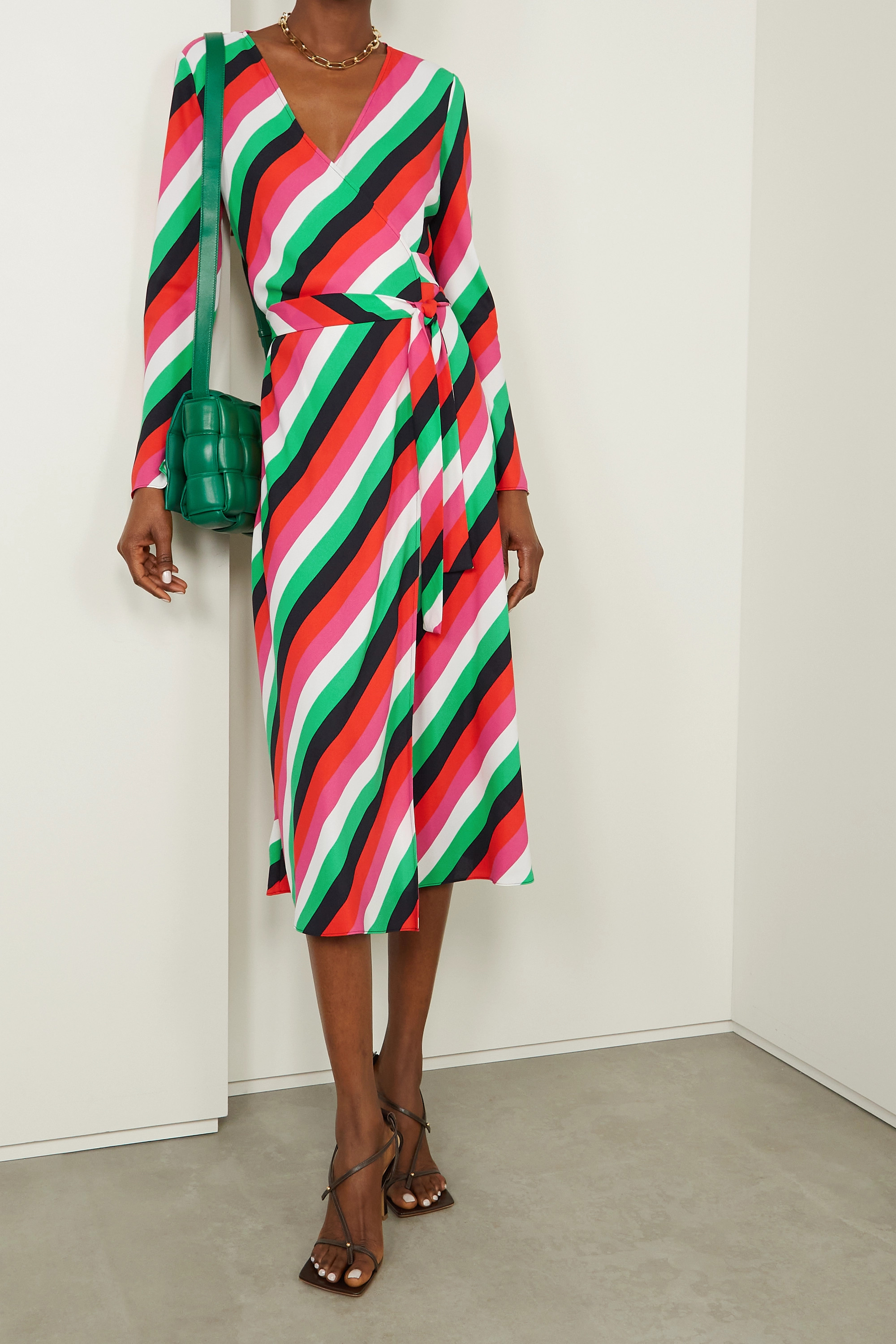 Diane von Furstenberg Tilly striped crepe wrap dress
