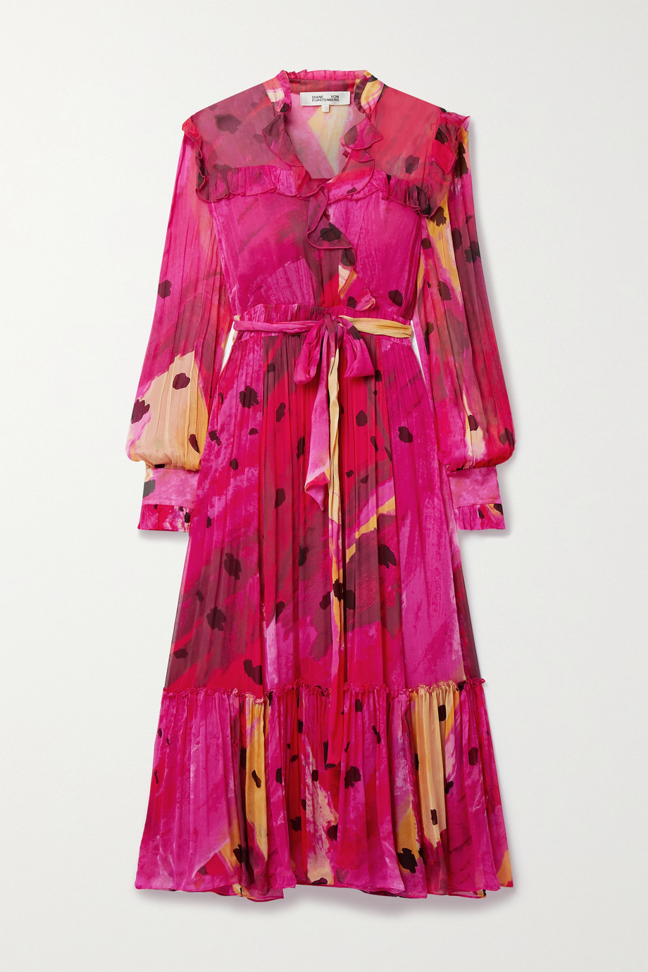 Diane von Furstenberg Meredith wrap-effect ruffled printed chiffon dress