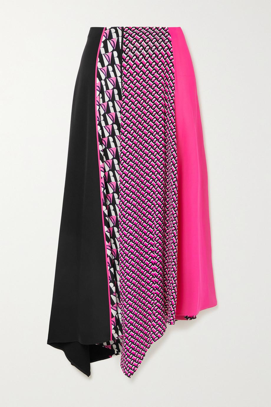 Diane von Furstenberg Jeffrey asymmetric printed crepe midi skirt