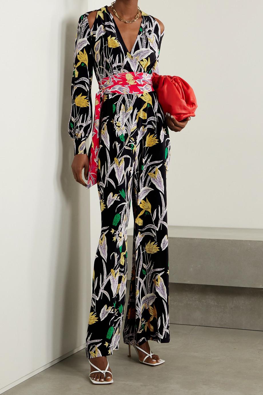 Diane von Furstenberg Hesy belted cold-shoulder floral-print silk-crepe jumpsuit
