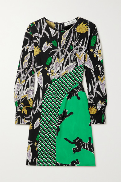 Diane Von Furstenberg JAMIE PRINTED SILK CREPE DE CHINE MINI DRESS