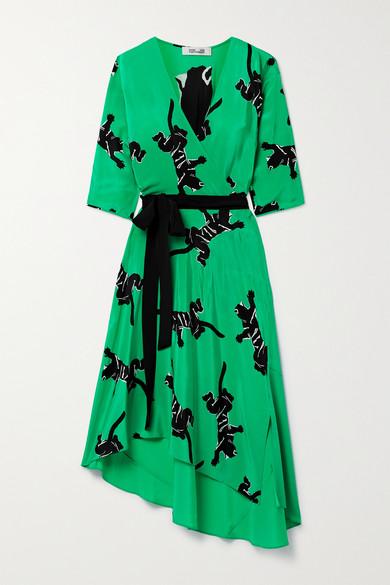 Diane Von Furstenberg ELOISE ASYMMETRIC PRINTED SILK CREPE DE CHINE WRAP DRESS