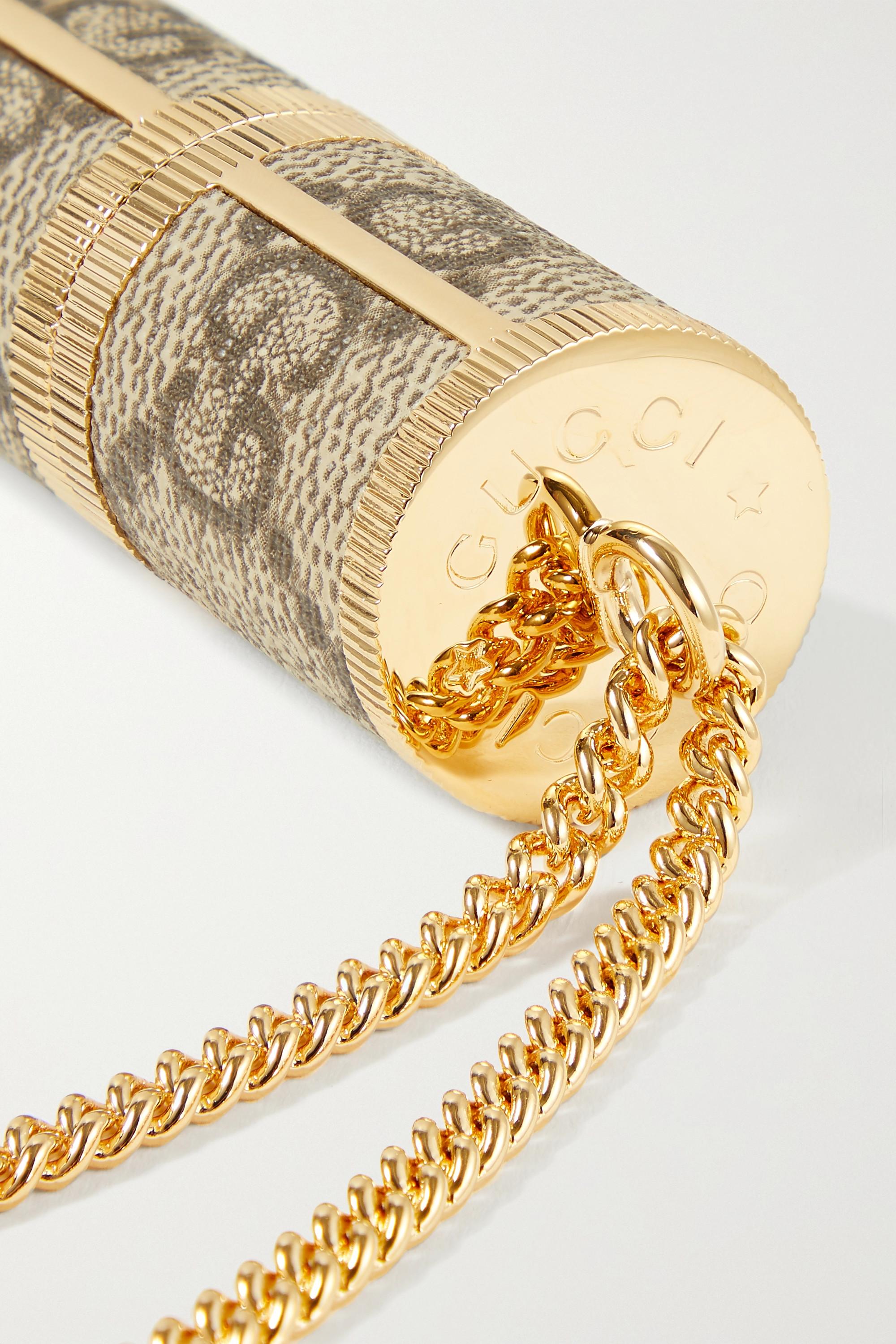 Gucci Vaporisateur en métal doré et toile enduite