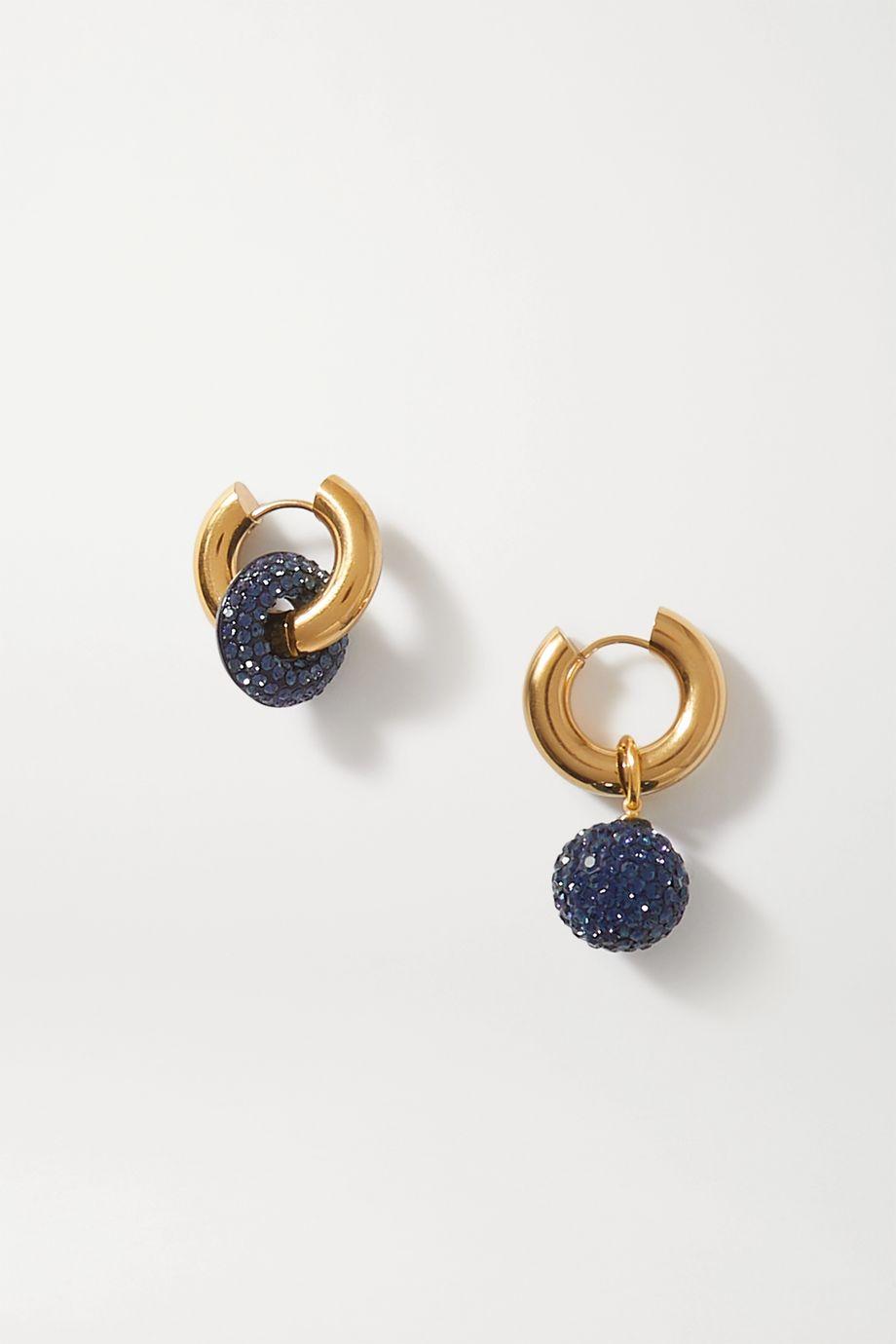 Timeless Pearly Boucles d'oreilles en métal doré et cristaux