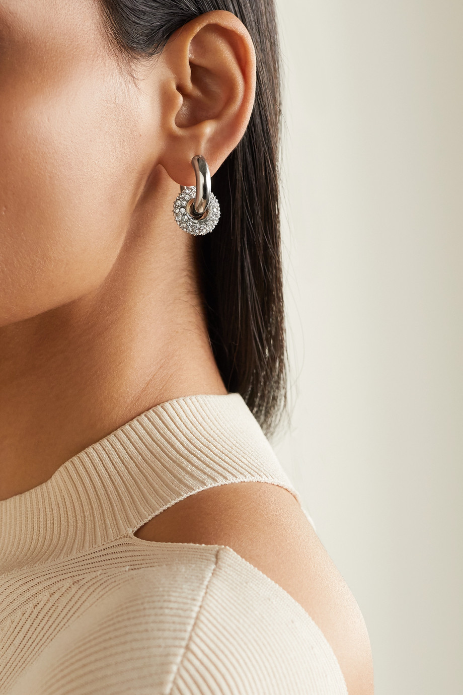 Timeless Pearly Gold and silver-tone crystal earrings
