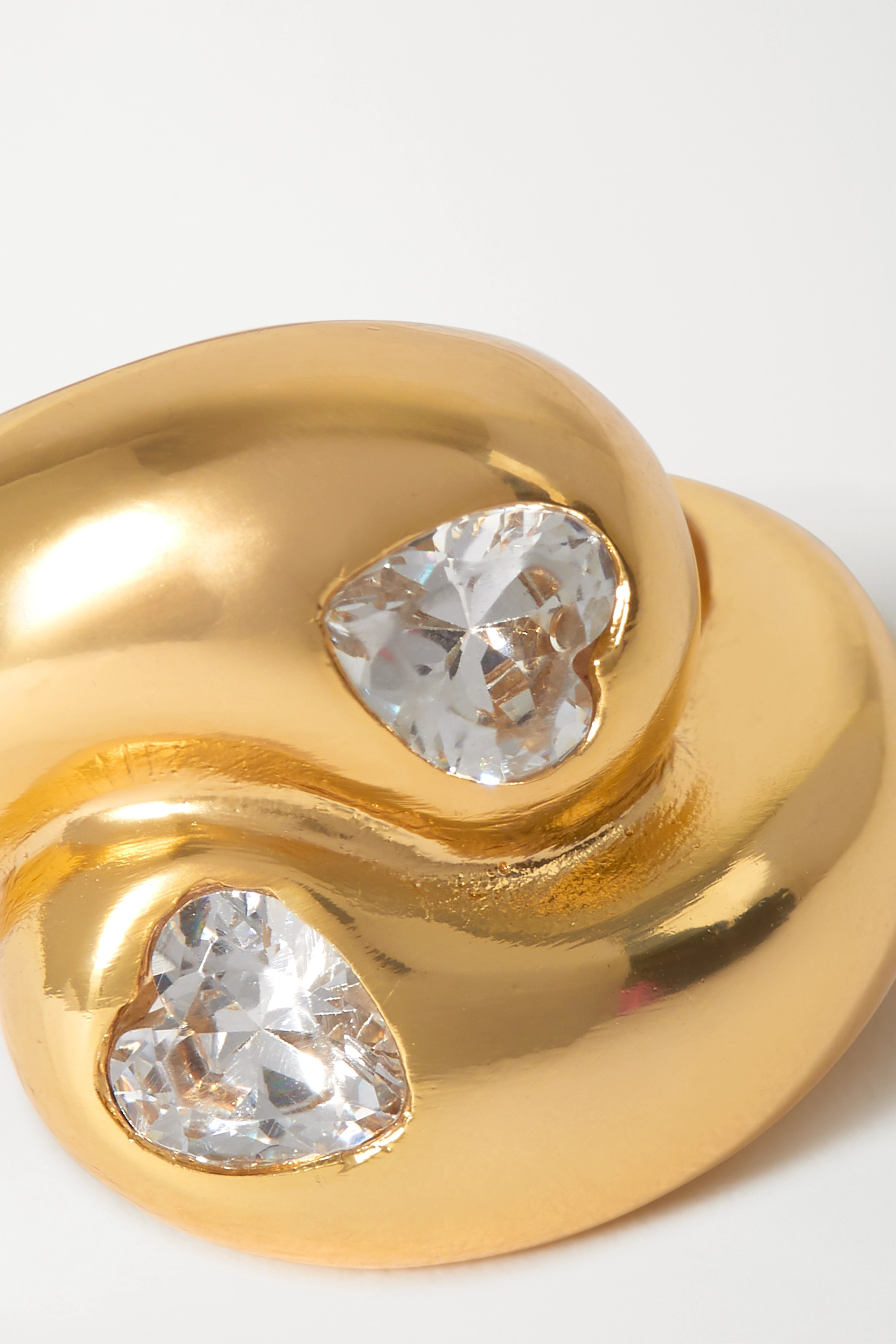 Timeless Pearly Gold-tone crystal ring