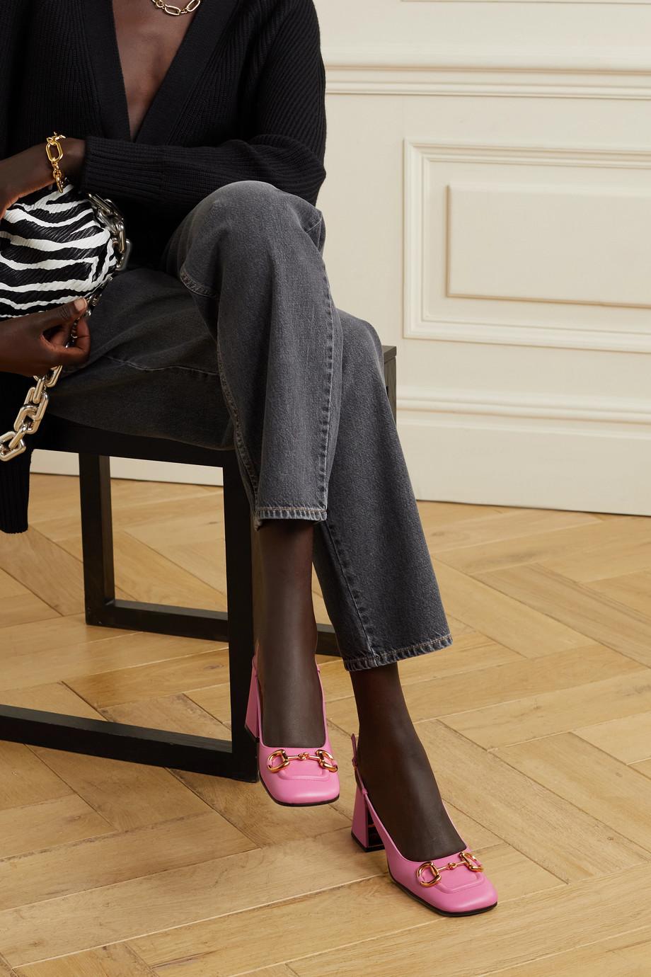 Gucci Baby Slingback-Pumps aus Leder mit Horsebit-Detail