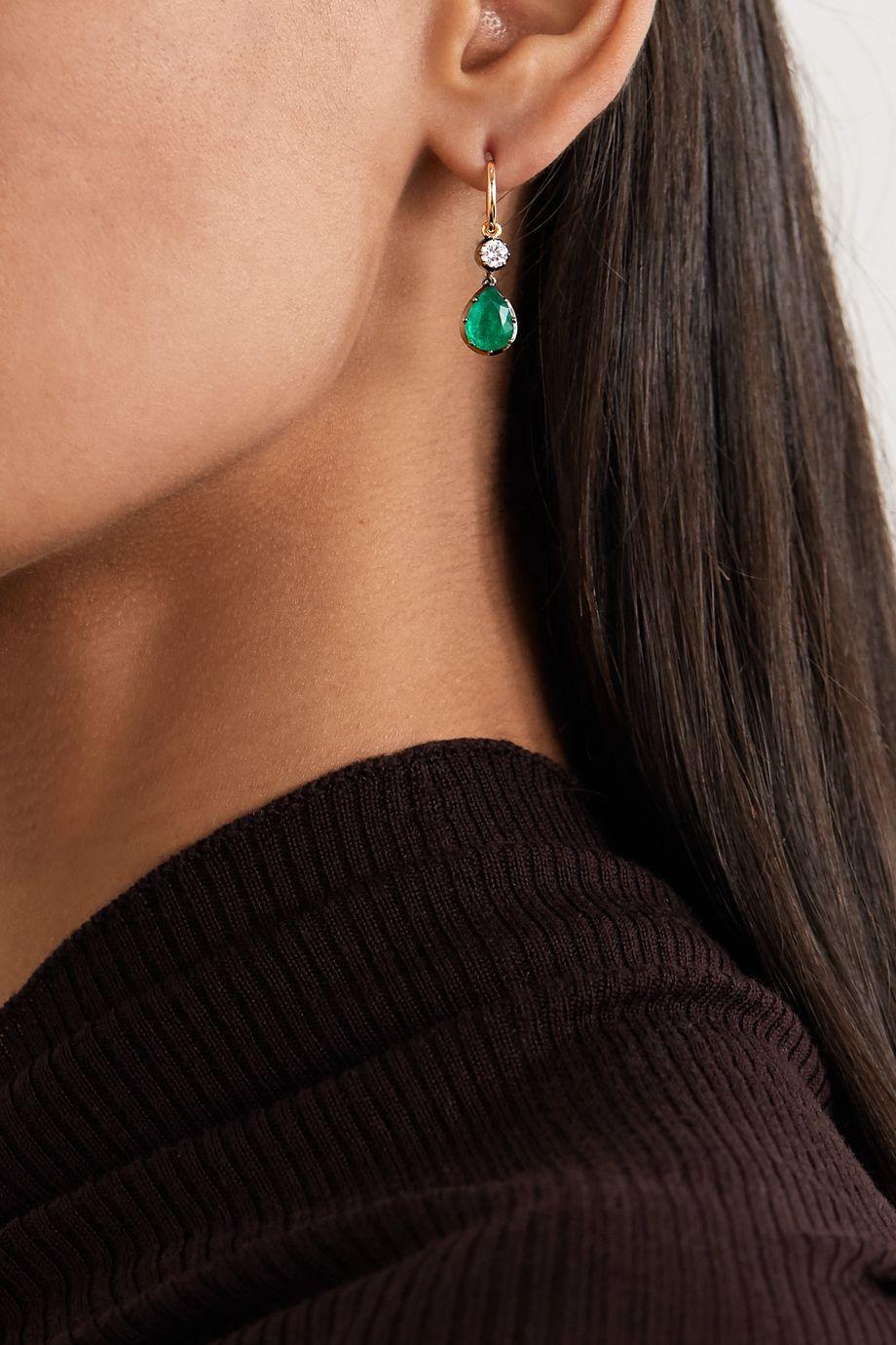 Jessica McCormack Gypset 18-karat yellow and blackened white gold, emerald and diamond hoop earrings