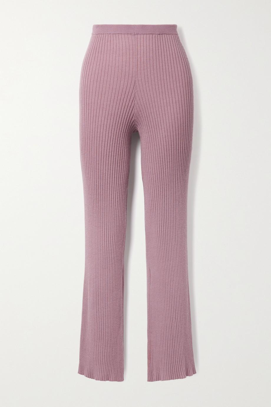 Sablyn Jordan ribbed cashmere straight-leg pants