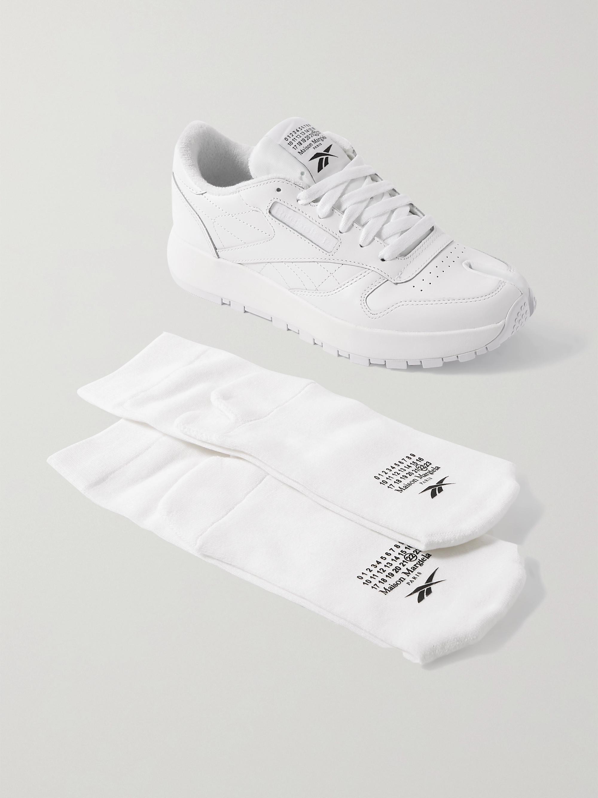 Reebok + Maison Margiela Tabi split-toe leather sneakers and cotton-blend socks set