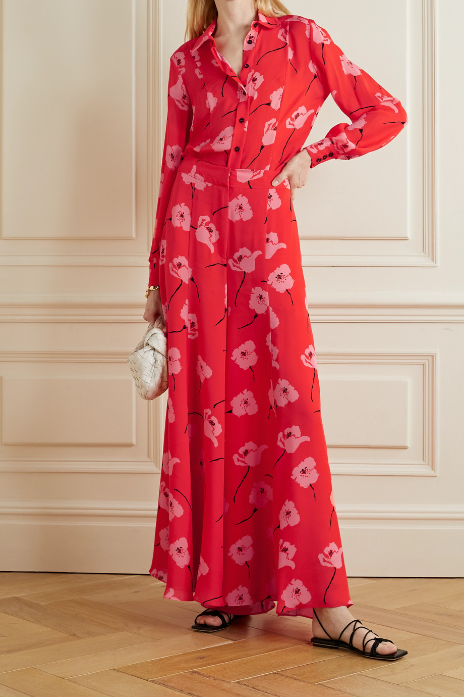 Carolina Herrera Floral-print silk-georgette wide-leg pants