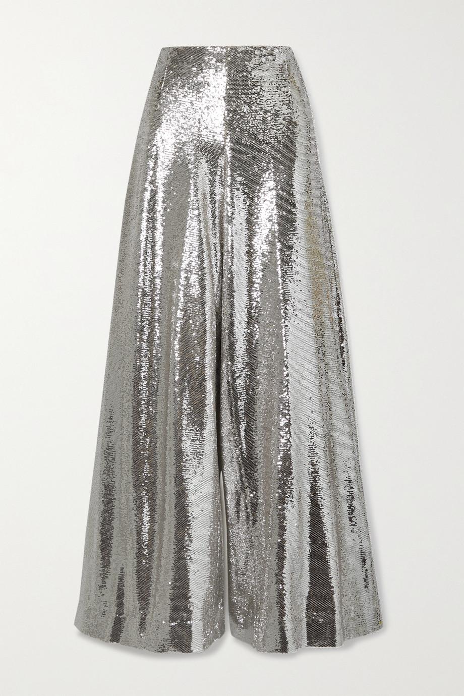 Carolina Herrera Sequined organza wide-leg pants