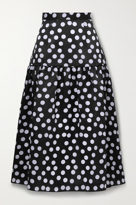 Carolina Herrera Tiered polka-dot silk midi skirt