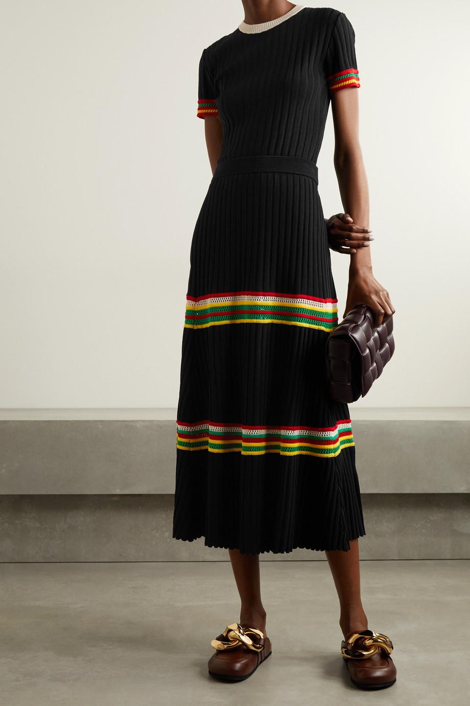 Wales Bonner Saint Ann crochet-trimmed ribbed-knit midi skirt