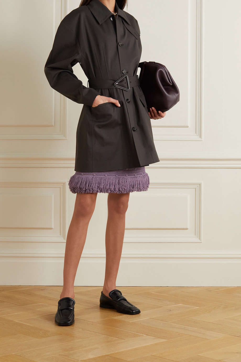 Bottega Veneta Jacke aus gebondeter Stretch-Baumwolle mit Gürtel