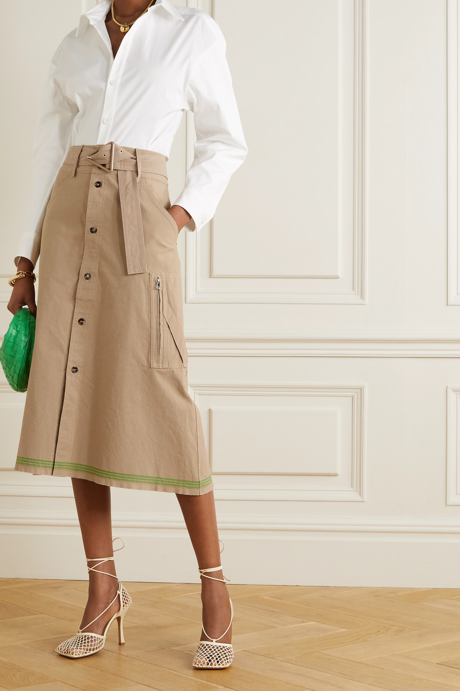 Bottega Veneta Belted striped cotton midi skirt