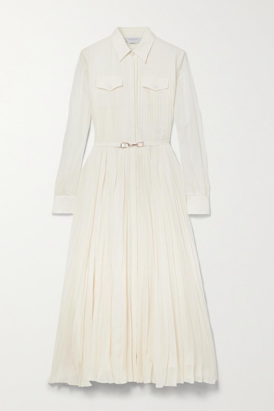 Gabriela Hearst Erella belted pleated cotton and silk-blend shirt dress
