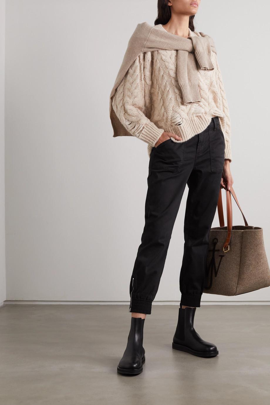 J Brand Pantalon de survêtement raccourci en satinette de coton mélangé Arkin
