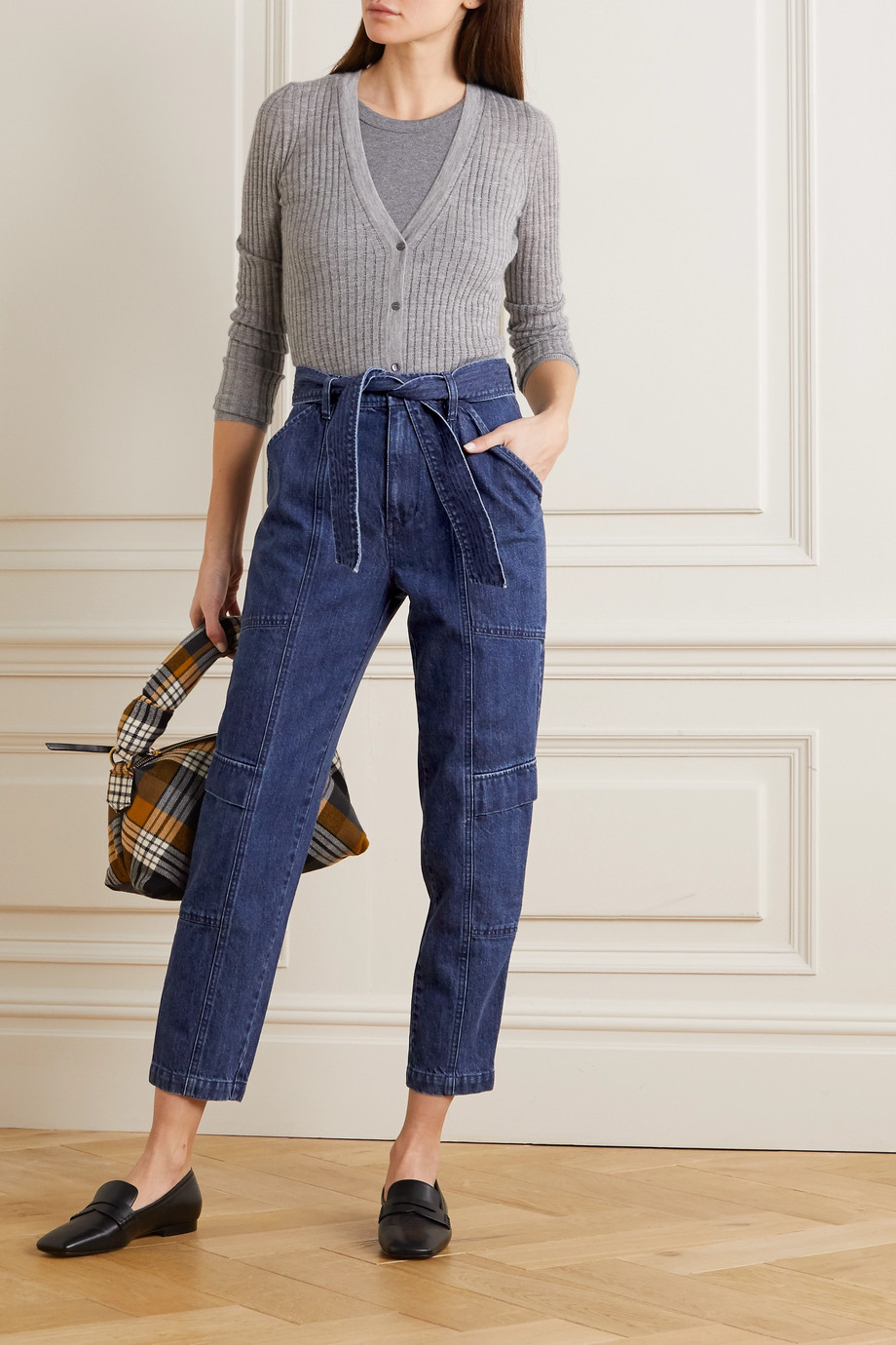 J Brand Athena belted high-rise tapered jeans