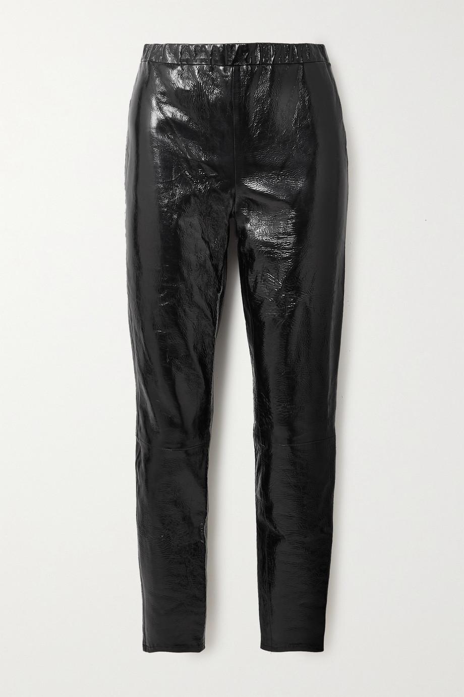 J Brand Edita crinkled coated cotton-blend leggings