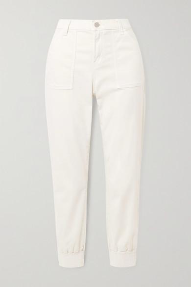 J Brand Arkin Cotton-blend Sateen Track Pants In White