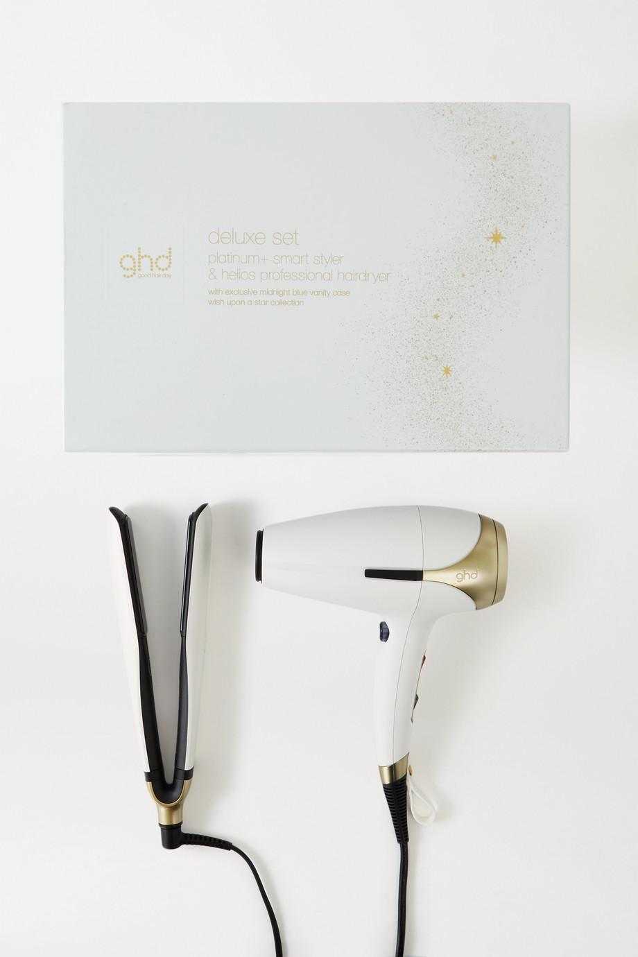 ghd Platinum+ & Helios Hair Dryer Limited Edition Iridescent Deluxe Gift Set – Set aus Haartrockner und Glätteisen mit dreipoligem Netzstecker (UK)