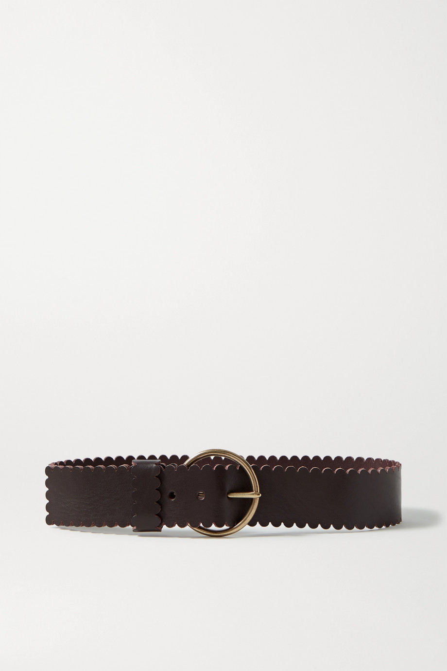 Black & Brown + NET SUSTAIN Sienna scalloped leather waist belt