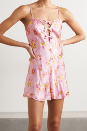 Morgan Lane + LoveShackFancy Tilly cutout silk-blend satin playsuit