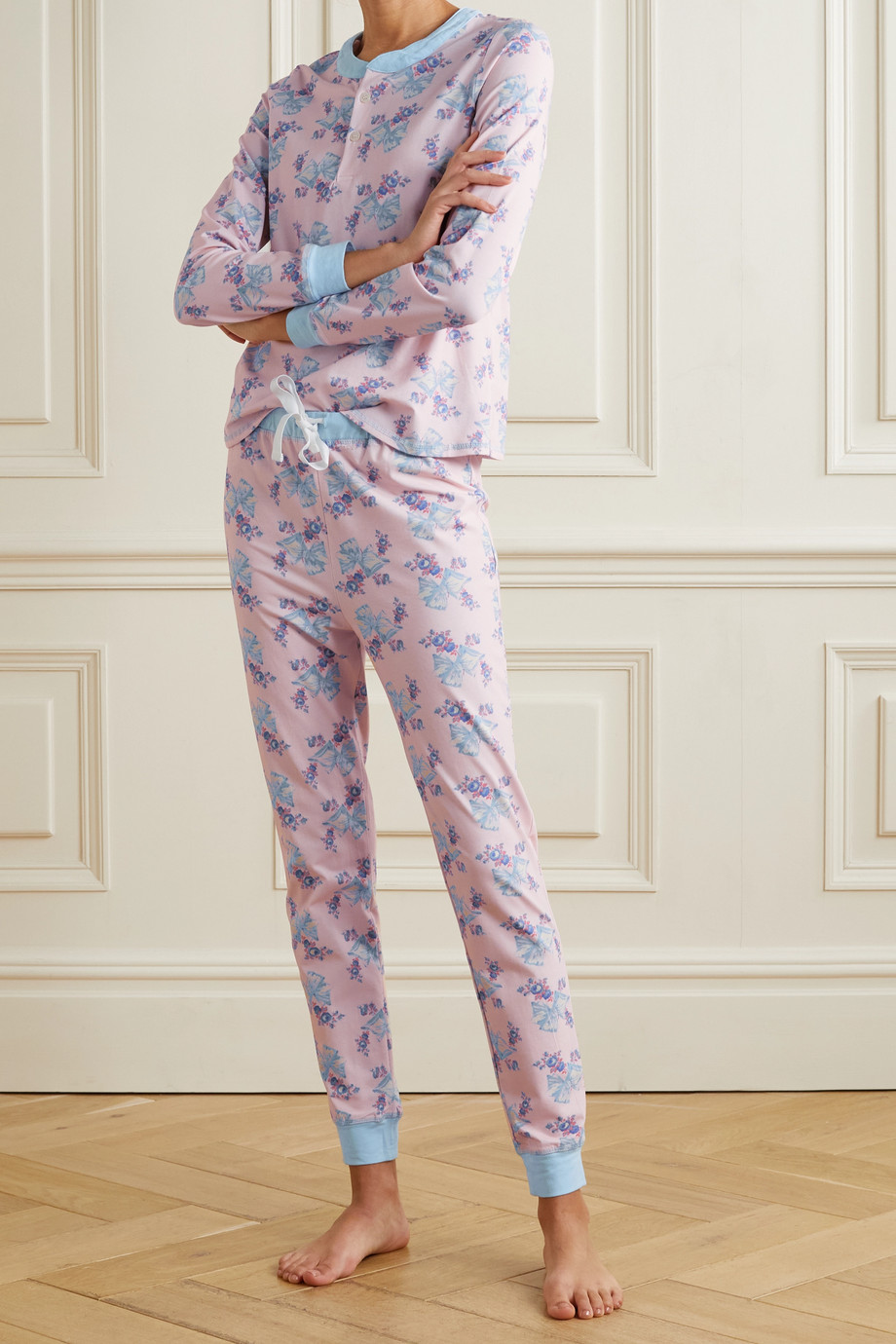 Morgan Lane + LoveShackFancy Kaia Pyjama aus Stretch-Jersey mit Blumenprint