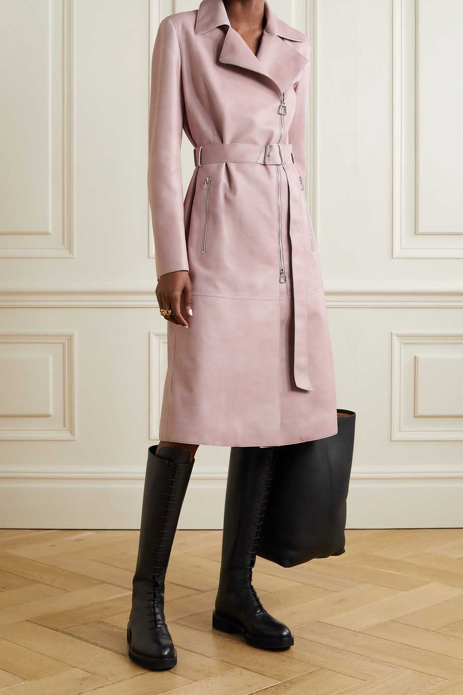 Akris Olesia belted leather trench coat