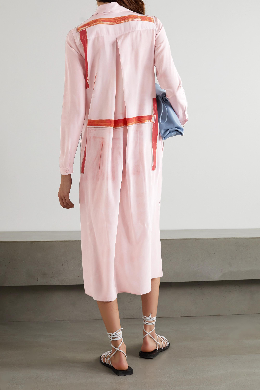 Akris Belted printed silk-crepe midi shirt dress