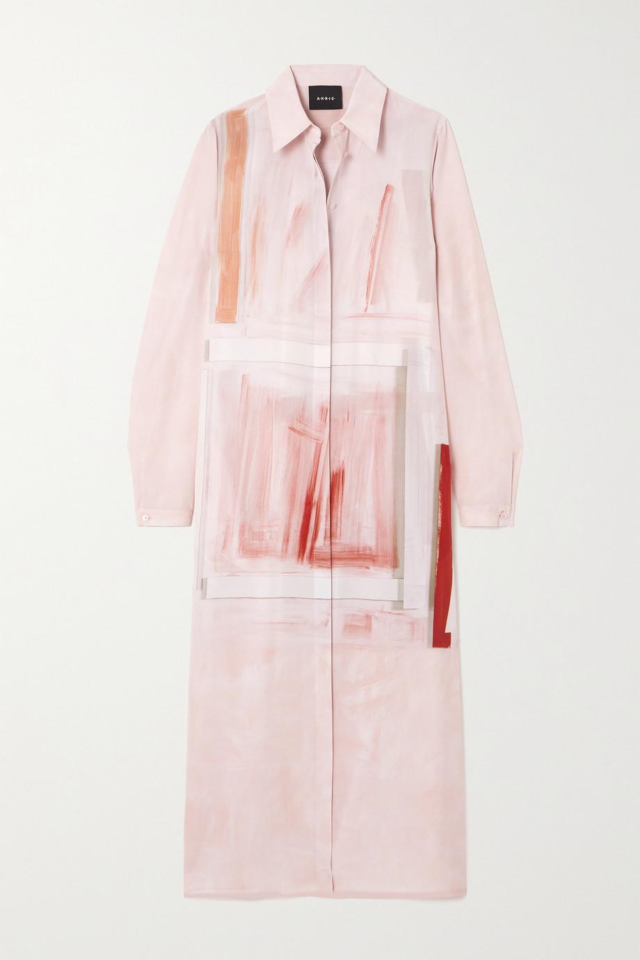 Akris Robe-chemise midi en crêpe de soie imprimé à ceinture