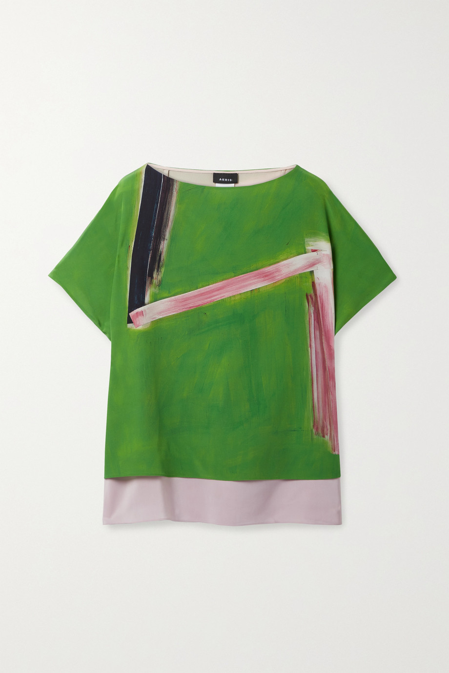 Akris Layered printed mulberry silk-crepe and georgette top