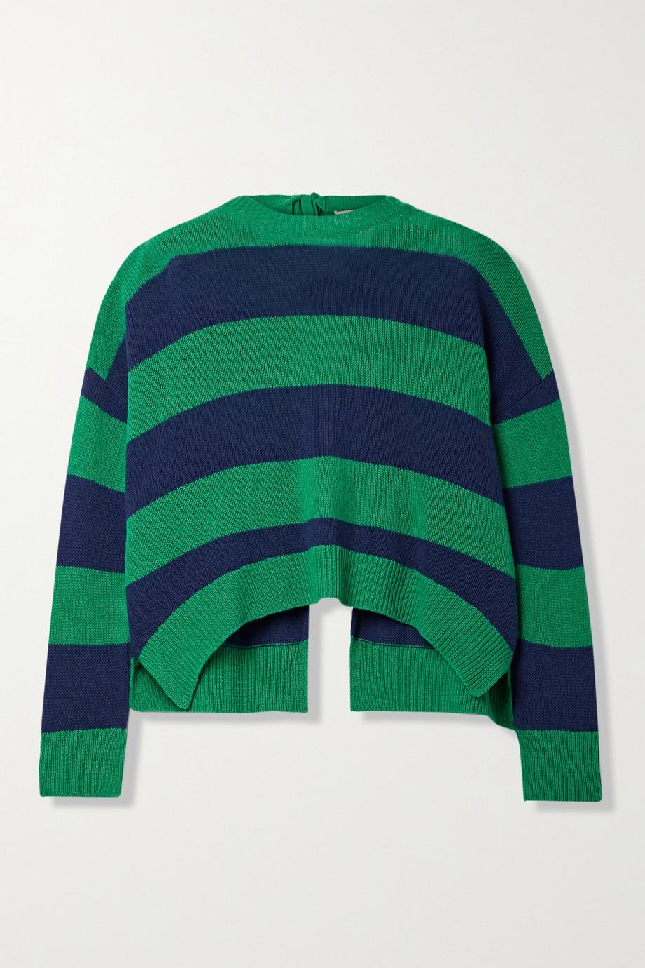 Marni Pull dos ouvert en laine et cachemire mélangés à rayures
