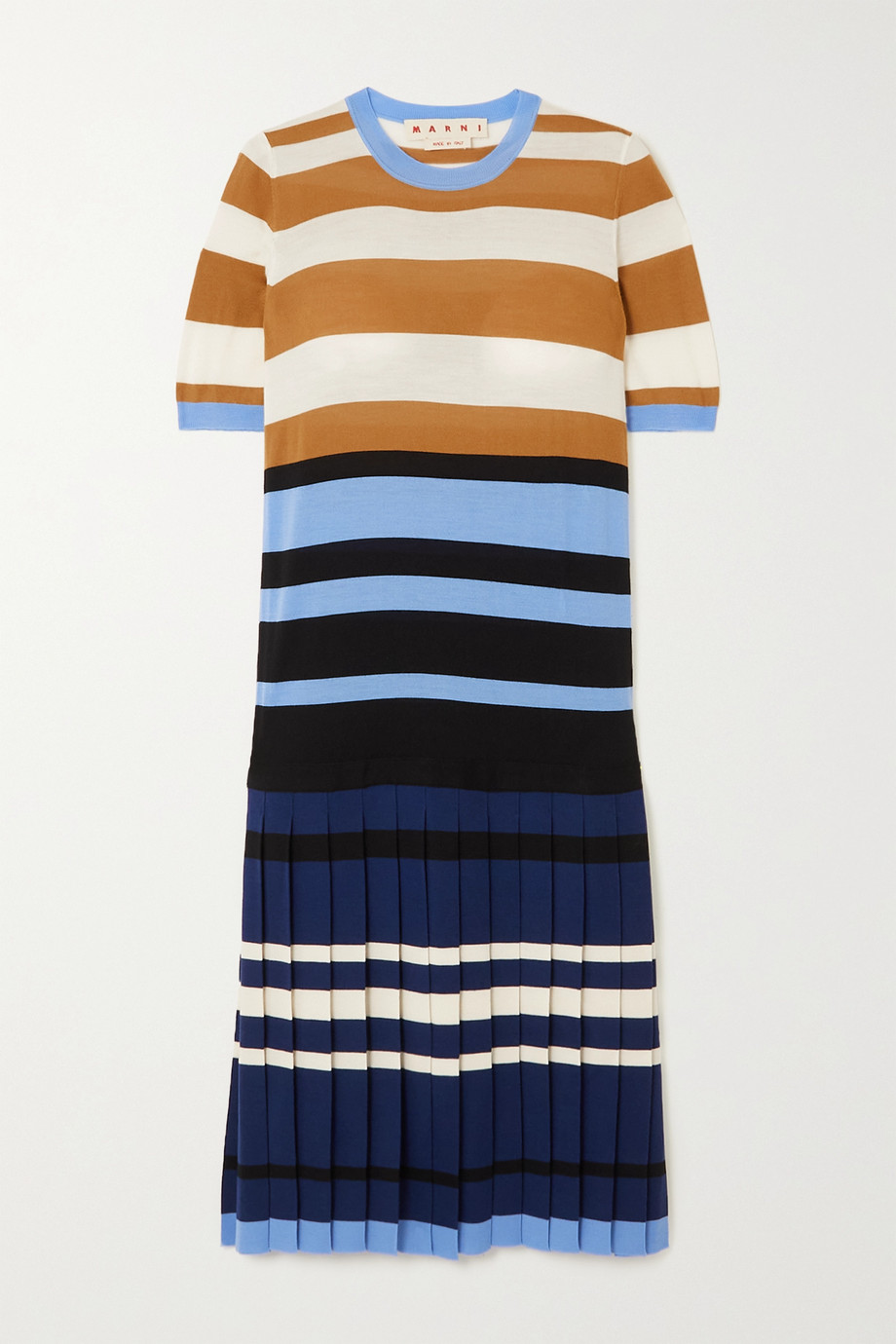 Marni Pleated striped wool dress