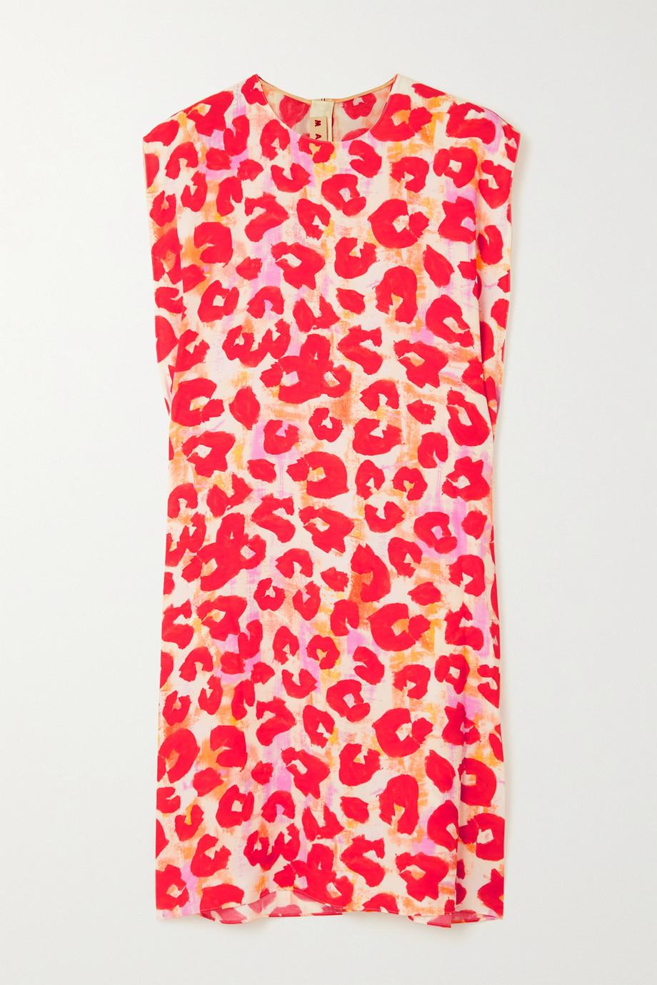 Marni Leopard-print crepe mini dress