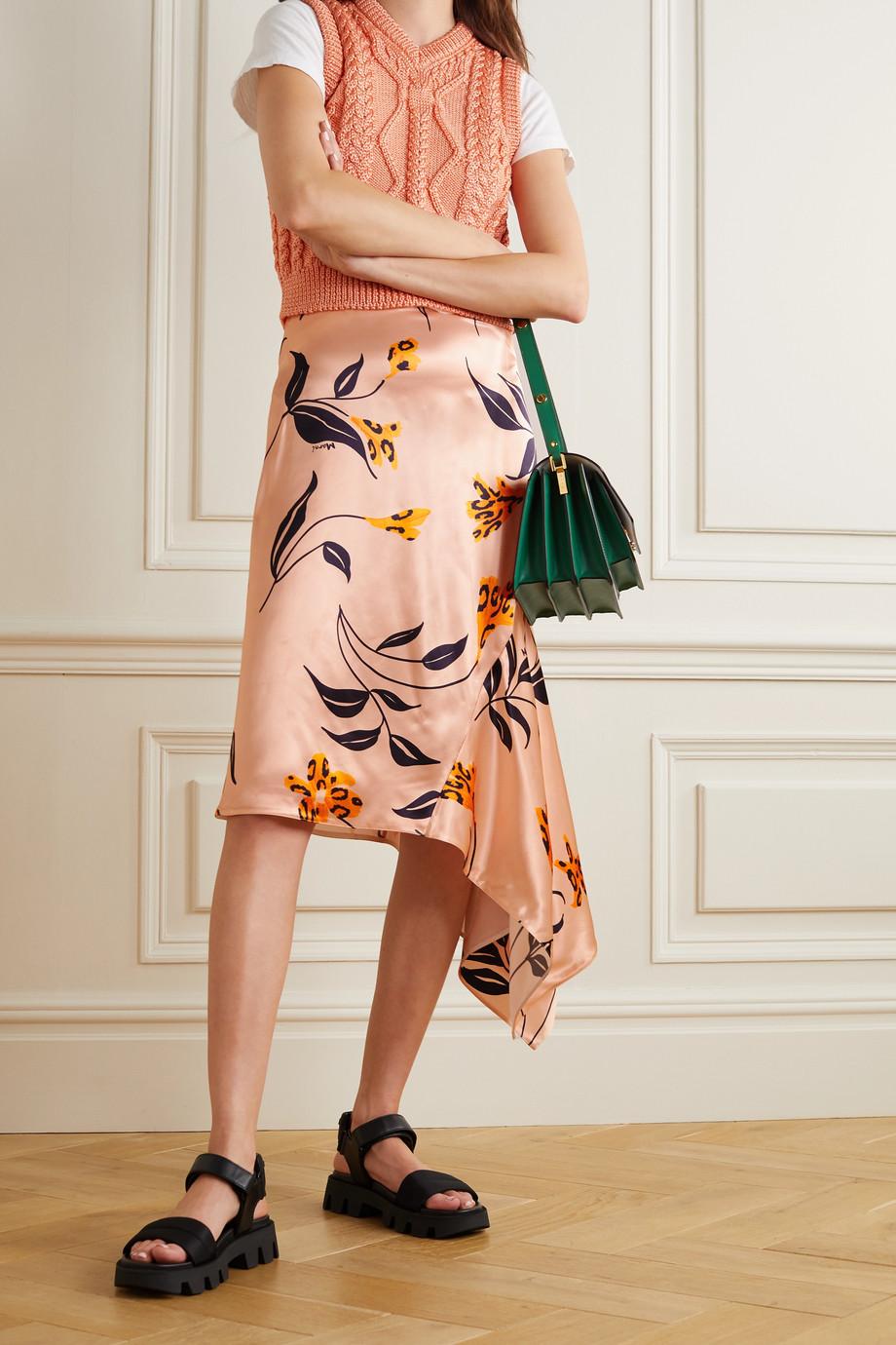 Marni Asymmetric floral-print satin skirt