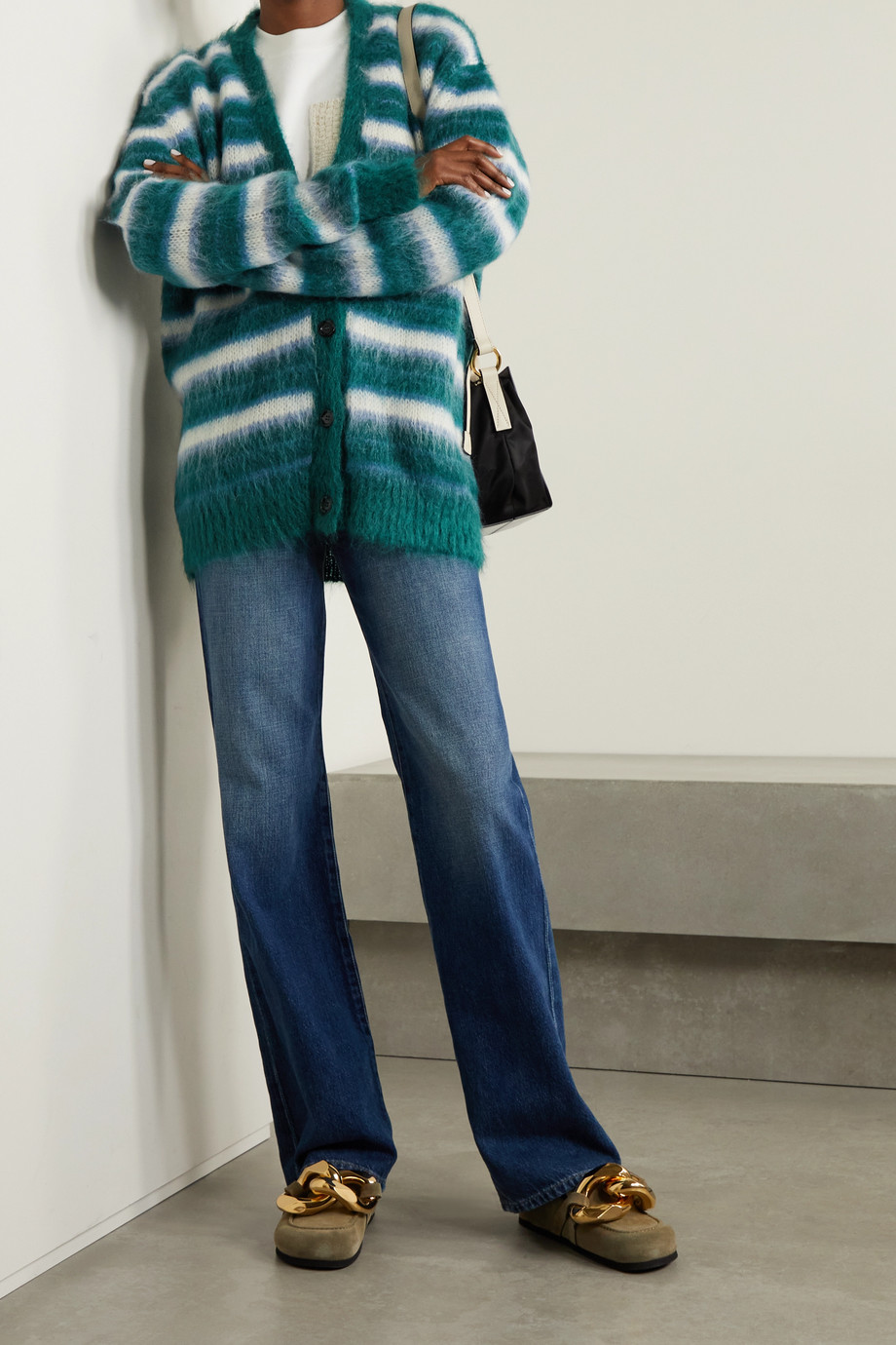 Marni Striped brushed mohair-blend cardigan