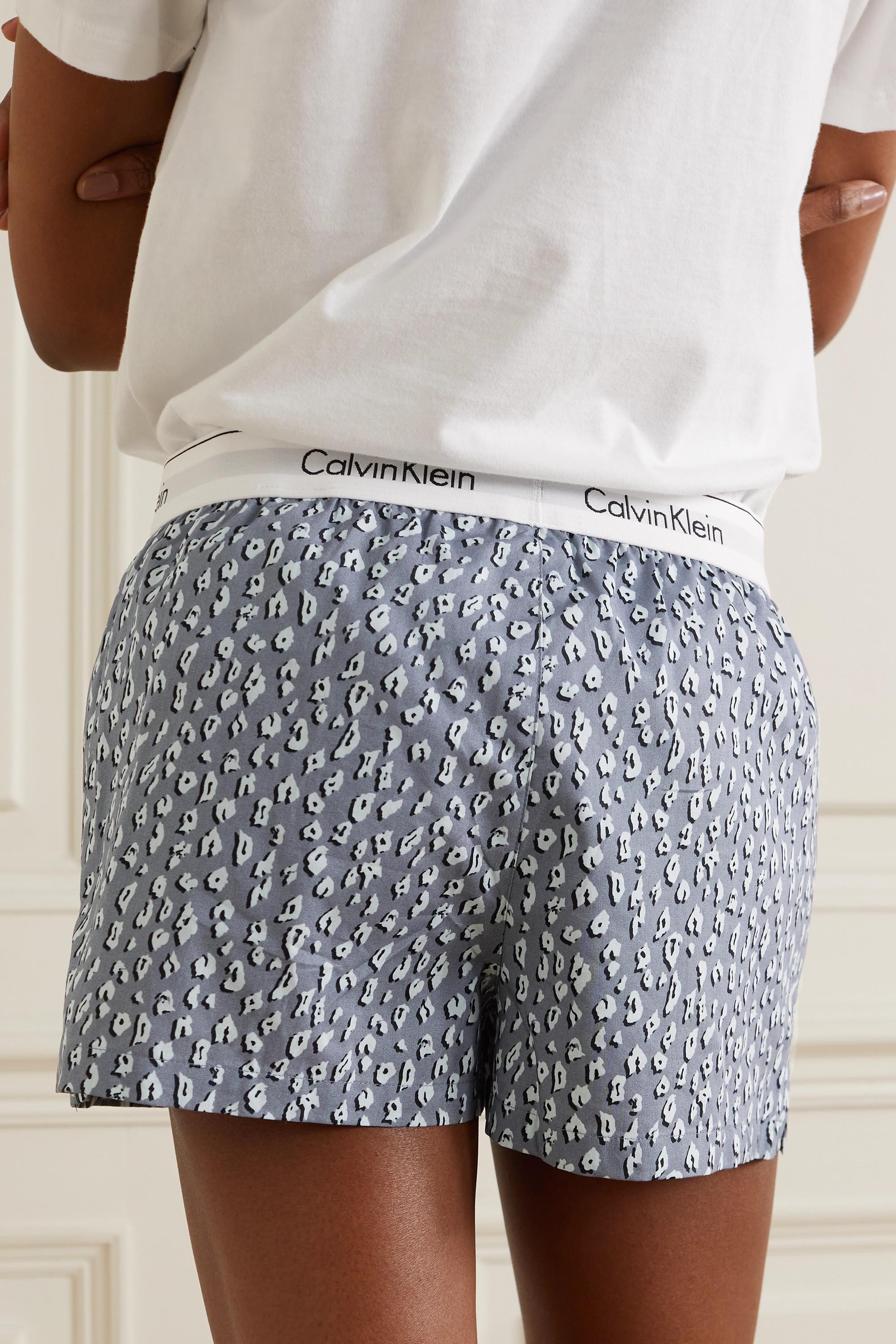 Calvin Klein Underwear Leopard-print cotton pajama shorts