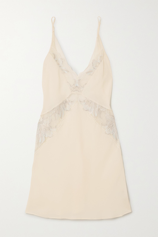 Calvin Klein Underwear Open-back lace-trimmed georgette nightdress