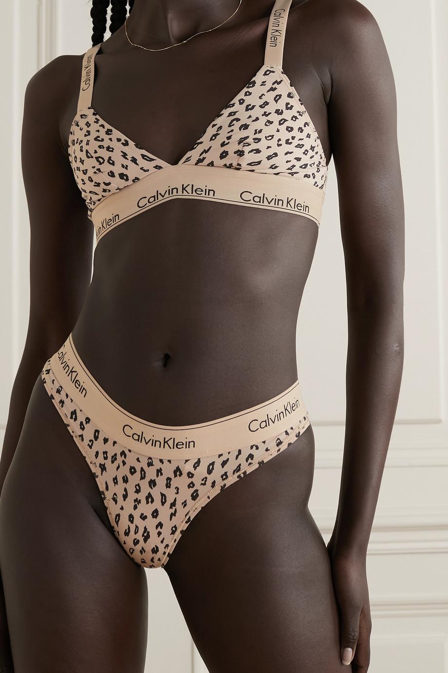 Calvin Klein Underwear Cheetah-print stretch cotton and modal-blend jersey soft-cup triangle bra