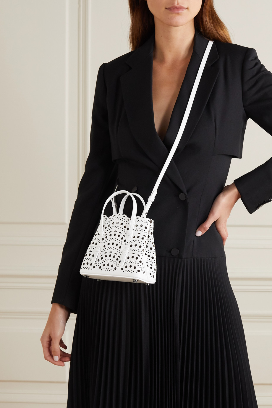 Alaïa Mina micro laser-cut leather tote