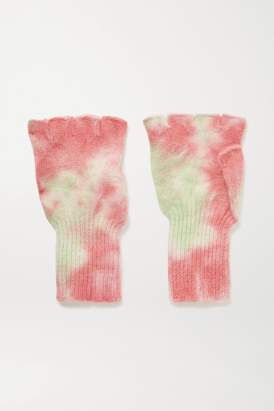 The Elder Statesman Tie-dyed cashmere fingerless gloves